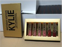 Hot Kylie Cosmetics Matte Liquid Lipstick Mini Kit Édition Anniversaire Lip Limited Avec la boîte d'or 6pcs ensemble Lip Gloss 660013-1