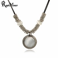 New Chokers Women Necklace Jewelry Vintage Silver Round Opal...