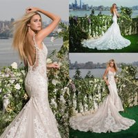 Великолепная ремни Спагетти Русалка Свадебные платья 2017 года новый элегантный шнурок Appliqued Кристалл Блестки Sexy Backless Свадебные Свадебные платья