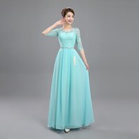 Lake Blue Scoop Neck Lace Chiffon Bridesmaid Dress Long 2017...