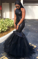 Gorgeous Black Girls sereia Prom Dresses Sequins Tiered Tule High-Neck Sleeveless Black Sexy vestido de noite formal vestido de festa