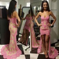 2017 Великолепная Милая оболочки высокой передней нижней части спины платья выпускного вечера Sexy Backless Pink Lace официально партия вечера платья знаменитости платья