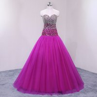 Cheap Real Photos Beaded Crystals Rose Red Evening Gown Swee...