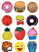 13 design Chiffon Round Beach Towel Mandala Tapisserie Skull Ice Cream Emoji Melon d'ananas Hamburg Donuts Yoga Mats 100pcs KKA1570