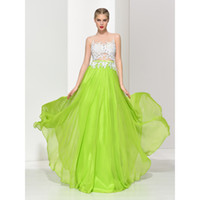 2017 New Arrival Lime Green Illusion A- Line Long Prom Dresse...