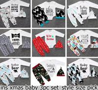 Christmas Xmas Baby Girls Boys Deer Moose Tops T- shirt Rompe...