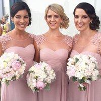 Великолепные длинные платья невесты 2017 розовый шифон горничной честь платья Линия Sheer шеи Аппликации официально мантии вечера выполненное на заказ