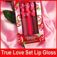 Новейшие Блеск для губ True Love Set Limited Версия Red Kit LipGloss ЖИДКОСТИ матовым LIPSTICK Купидон Saint Box Set 3colors / комплект