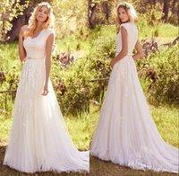 Страна чешская Элегантные Скромные Кружева Аппликации Свадебные платья 2017 года рукава Cap V шеи кнопки назад мантий бисером пояса платья венчания