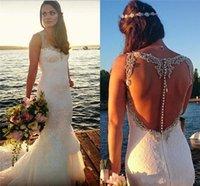 2017 Gorgeous Sexy Illusion Back Beach Wedding Dresses Merma...
