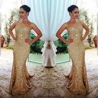 Новое прибытие золота Длинные платья выпускного вечера 2017 Sparkly Русалка Вечерние платья Блестящая сшитое Vestidos Largos De Noche