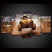 5 шт / комплект Рамку HD Печатный Дикие мотоциклов ралли Wall Art Картина Холст печати Декор Плакат Современные холст масло