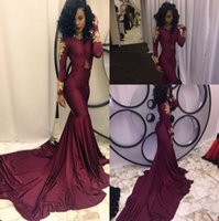 2017 Borgonha New South African Mermaid Prom Vestidos de noite Sexy High-neck Gold Appliques Ruffles Tiered Party Reception Dress Sweep Train