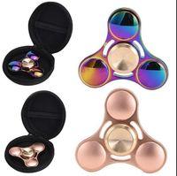 Arco iris colores Tri-Fidget dedo de mano Spinner de aluminio colorido EDC tri Spinner juguetes de mano Spinner Fidget descompresión de juguete KKA1534