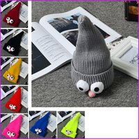 8 Color Funny Children Big Eyes Caps Baby Knitted Hats Infan...