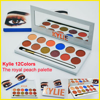 IN Stock Kylie Jenners 12color Eyeshadow палитра с ручкой Кисть Косметика Новые 12colors Royal Peach Kylie Eyeshadow Palette Kyshadow