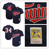 Maillots Minnesota # 34 Maillots Kirby Puckett # 4 Maillots Paul Molitor Maillot Mitchell 100% Maillots de Bijou Stitched