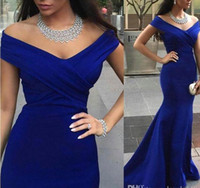 Royal Blue Evening Prom Vestidos Sereia Sleeves Backless Formal Party Dinner Dresses 2017 fora do ombro celebridade árabe Dubai Plus Size Wear