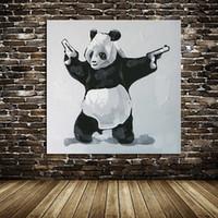 Прекрасные Panda Убийца, Ручная роспись абстрактные современные стены Декор Прекрасный мультфильм животных поп-арт картины маслом размер Canvas.Mulit Доступный C058