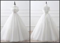 Свадебные платья Свадебные платья весна-лето 2017 года Lace-Up бальные платья A-Line Простые Свадебные Платья с Боун