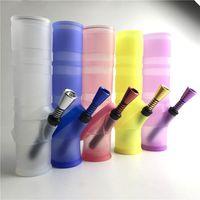 Nouvelle conception mini plate-forme d'huile silicone coloré bong d'eau avec tube en plastique tube de filtre en plastique tube métallique pour fumer