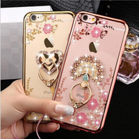 Luxury Bling Diamond Ring Holder Phone Case Crystal TPU Cove...