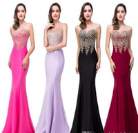 Apenas US $ 39 BAREIRA Real Image Mermaid Prom Dresses 2016 Sheer Jewel Neck Appliques sem mangas Longo formal vestidos de noite robe de soiree CPS262
