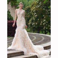 2017 Champagne Illusion Spagghetti Straps Mermaid Wedding Dr...