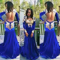 Sexy Открыть Назад Royal Blue Русалка Пром платья черные девушки 2K17 Длинные рукава высокого шеи бархата с золотыми аппликациями Длинные вечера партии платья