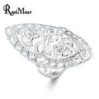 New Fashion Silver Plated Anel Flower Carved Design Finger R...