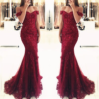 2018 New Fashion Burgundy Mermaid Prom Dresses Lace Applique Beaded Sequins Pavimento Comprimento Evening Party Gowns Custom Made