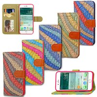 For iPhone 7 Wallet Stand Case Abstract Rainbow Design PU Le...