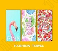 Toalla de playa de la letra de color rosa 140 * 70cm Aptitud deportiva toalla VS toalla de baño de flores de leopardo baño de flores toallas de baño 22 estilos 30pcs OOA1257
