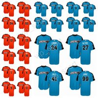 National League Orange 2017 All Star American League Blue All-Star MLB Baseball Jerseys 24 Gary Sanchez 5 Corey Seager 41 Chris Sale 5 Corey
