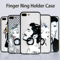 For iPhone 7 Finger Ring Case Cover Fashion 3D Painted Chara...