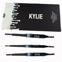 MOQ36PCS Kylie JENNER lápiz de la ceja de las mujeres del lápiz de señora Triangle impermeabilizan los colores del lápiz 3 de la ceja con las herramientas del maquillaje del cepillo