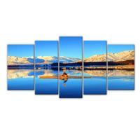 5 Pieces Холст картины Тибет Высокие горы катание на лодке Живопись Холст стены с деревянной рамой для домашнего декора в качестве подарков