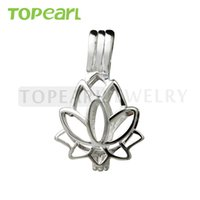 SWP11 Teboer Jewelry 5pcs Lotus Flower Cage 925 Sterling Silver Love Wish Pendentif perle
