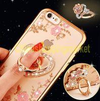 Luxe Bling Peacock Diamant Titulaire Phone Case Cristal Flexible TPU Cover pour Iphone 6 6s 6 plus avec Kickstand