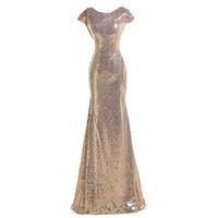 2017 год Bling Sequins Длинные платья невесты Jewel шеи Cap рукава Новые Mermaid выпускного вечера платья официально горничной честь платья