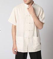 Высокое качество Бежевый Китайский мужской полотняный рубашка Кунг-фу рубашка верхней традиции Карманный костюм плюс размер XXXL MS002