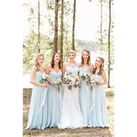 2017 Light Sky Blue Bridesmaids Dresses Sweetheart A- line Ch...