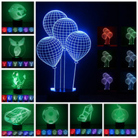 Creative 7 Color 3D Touch and Button LED Night Light USB Cha...