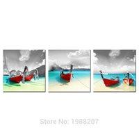 3 Panles Красная лодка на берегу моря Холст Живопись Морской пейзаж Картинка для картины на стенах с деревянной рамой для домашнего украшения