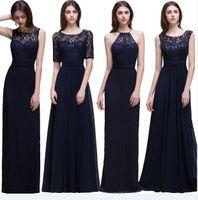 2017 Дешевые Элегантный Scoop декольте синий Дизайнер платья невесты шифон Кружева Длинные линия горничной честь Халаты гостей Wear