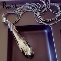 RAVIMOUR Long Necklace Black Chain Drop Water Crystal Women ...