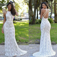 Newest 2017 Lace Mermaid Prom Dresses Halter Neck Sexy Backl...