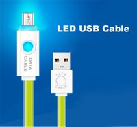 Flat LED Lighting Type-C Micro USB Cable Fast Data Sync Charge Chargeur Nylon Pour Samsung Huawei IP7 IP6 Android Smart phone Lancase