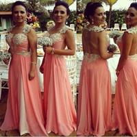 2017 года выполненные на заказ платья Bridesmaids Свадебное платье партии Коралл шифон длинное платье выпускного вечера Формальные девушки Bridemaid платья