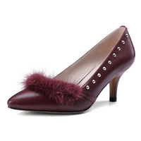 Retro stiletto heel pumps with pointed toe and rabbit plush ...